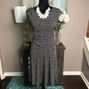 Brown/White Pattern Print Enfocus Studio Dress